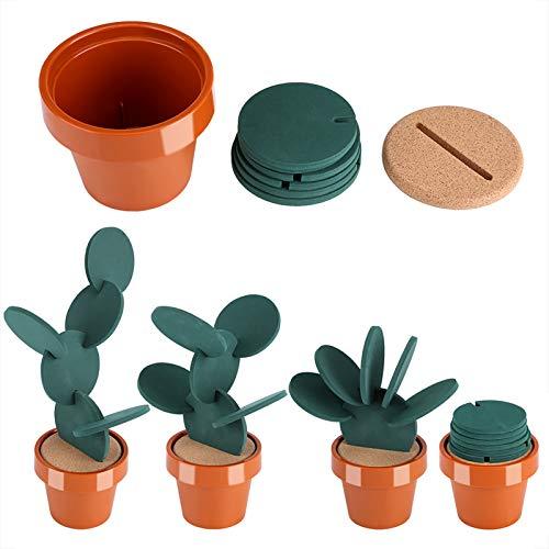Novedad, posavasos de aislamiento térmico para taza de cactus en maceta, para bebidas, evitan muebles y mesas, decoración de escritorio