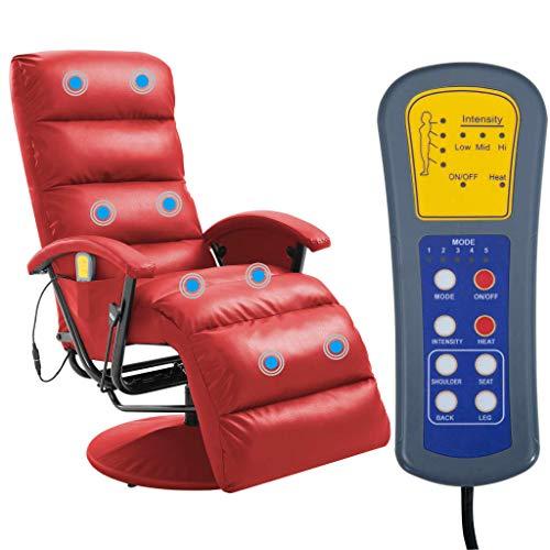 TV-Massagesessel Rot Kunstleder, Massagesitzauflage Massagegerät massagekissen mit verfügt über eine Fernbedienung MIt 8 Massagepunkten und 5 Modi ultimative Relief von Hals Kopf Rücken Oberschenkel
