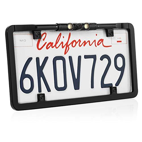 BOYO VTL375LTJ - Ultra Slim Full-Frame License Plate Backup Camera with Active Parking Lines and LED Lights (Black)