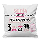 NANNUK - Cojín Nacimiento personalizado tonos rosa para recién nacidos, se personaliza con nombre, hora, fecha, peso y medida del bebé. (Rosa y Fucsia, 55x55cm)