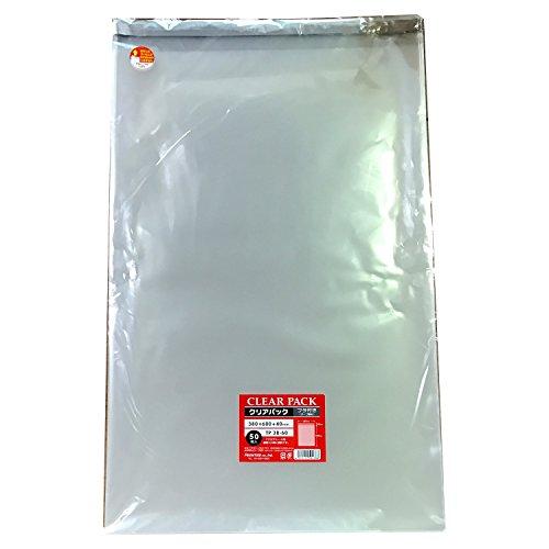 カクケイ OPP袋 クリアパック フタ付 テープ付 30μ 50枚 TP38-60