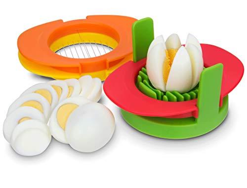 Eierschneider Set mit 3 Ausstechformen – 3 in 1 Edelstahldraht, schneiden Sie gekochte Eier in dünne Scheiben, Keile oder Hälften, gekochte Eier oder Früchte Schneider