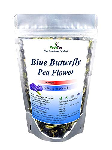 Magicvintage Premium A Grade Blue Butterfly Pea Flower Drinks, Iced Teas, Coolers, Cocktails by VY VedaYug - 20 Grams