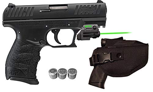 Laser Kit for Walther CCP & P22 (fits Version w/Multiple Cross-notches in Rail) w/Tactical Holster, Grip Activated ArmaLaser GTO-G Green Laser Sight & 2 Extra Batteries