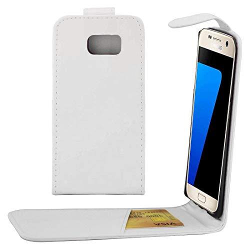 Zhangl leren telefoonhoes voor Samsung Galaxy S7 / G930, verticale textuur, schoudertas, met magneetsluiting en kaartenvak, Wit.