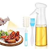 SANYOCZH Pulverizador de Aceite, 7 oz / 210 ml spray aceite cocina, Ecología dispensador aceite spray con cepillo, Aceitera Spray para Cocina, Cocinar, Ensalada, Hornear, Pan, BBQ (Blanco)