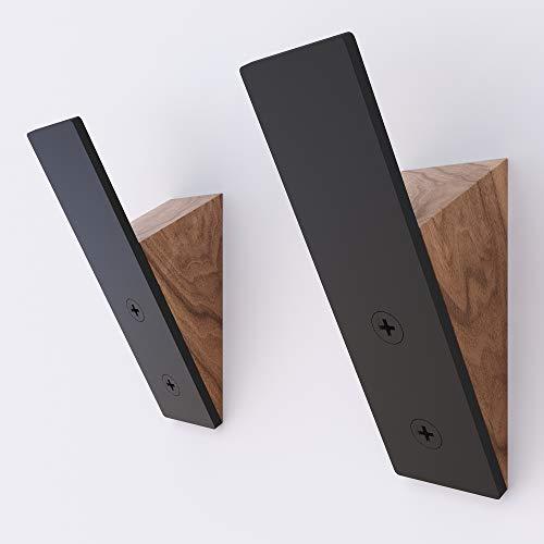 Wall Coat Hook Rack - Set of 2 - Walnut Wood Black Metal Hooks for Hanging Coats - Hat Hooks for Wall - Hat Hangers for Wall