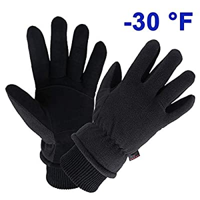 OZERO Insulated Work Gloves Deerskin Leather Winter Thermal Glove Warm Fleece for Snow Skiing Driving Cycling Hiking Runing Hand Warmer for Men and Women X-Large Black
