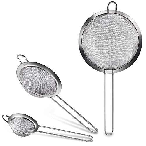 IPOW [Verdickter Griff] Profi feinmaschig Küchensieb Set Mehlsieb Passiersieb 7/12/18cm aus hochwertigem Edelstahl