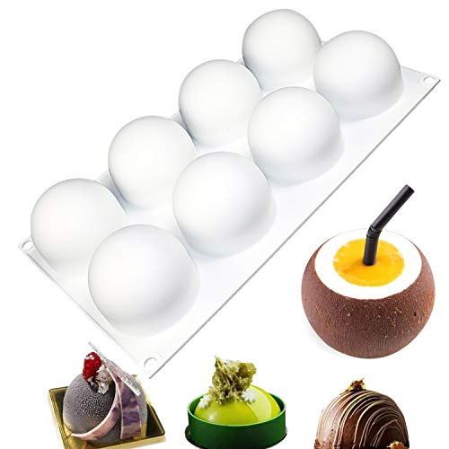 Sphere Silicone Mold for Baking Mousse Cake, 3D Silicone Baking Mold for Cakes, Dessert Mold for Pastry Chocolate, Ice Cream, Cupcake, Cake Decoration Mold, 3D Ball Shape (8-Cavity)