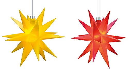 Mini Dekostern LED 2er Set Gelb Rot 18 Zack Batterie Kunststoffstern Leuchtender Stern Innen + Außen Weihnachtsdekoration