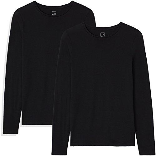 Marca Amazon - MERAKI Camisetas, Mujer, Negro (Black Beauty/Black Beauty), XS, Pack de 2