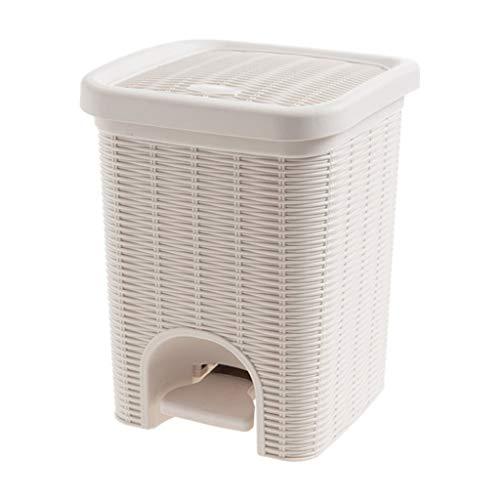 Papeleras Bote de Basura de Pedales for el hogar Creativo con Tapa Cubo Interior extraíble Cubo de Almacenamiento for el hogar Hermosa y Duradera (Color : Beige)