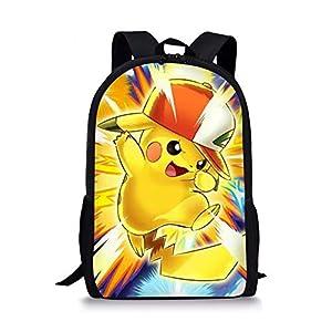 41 DE5U99EL. SS300  - Woisttop Anime Pokemon Mochila para niños, Estilo Vintage, para niños, con Estampado de Animales, para Viajes al Aire…