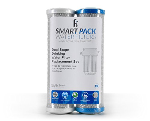 Dual Stage Drinking Water Replacement Filter Set, Standard 10', Filters Sediment, VOC, Mercury, Lead, Cysts