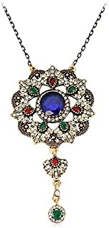 Fashion Colorful Vintage KC Gold Plated Resin Rhinestones Necklace