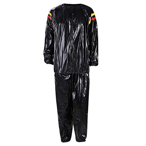 Mens Womens Sweat Suit Sauna Exercise Gym Suit Fitness Weight Loss Extra Thick Winter Fall 2 Piece Outfits Black