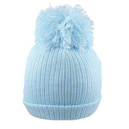 Pesci Baby Mütze Beanie Strickmütze Wintermützen mit Bommel doppelt gestrickt Unisex Babymütze Mädchen Jungen, Neugeborene, Blau