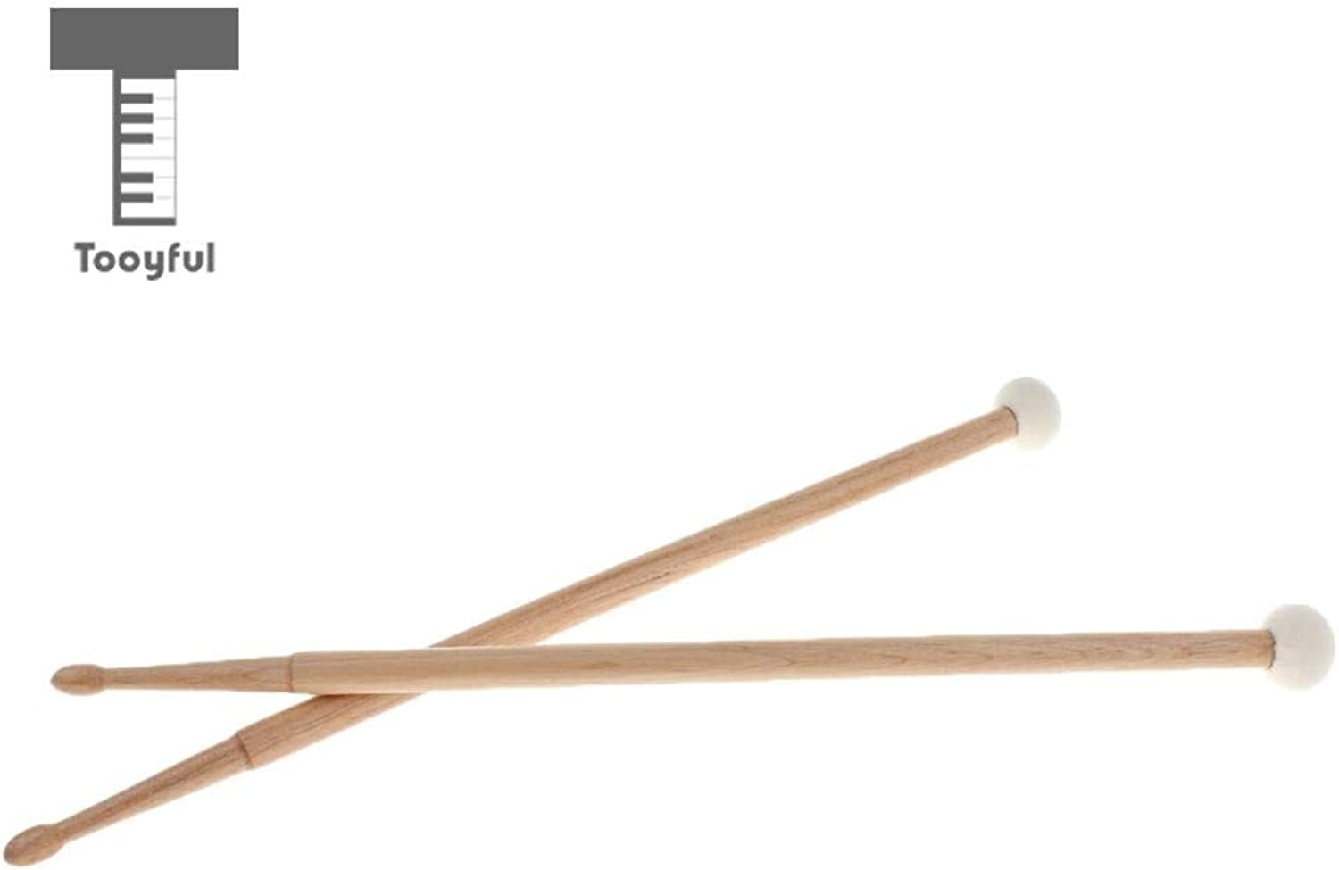 Value-5-Star1 Pair Maple Wood Double Head Cymbal Gong Mallet Felt Hammer Drum Set Sticks Percussion Instrument Accessory