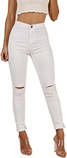 TENGFU Women's Juniors Mid-Rise Distressed Slim Fit Stretchy Skinny Jeans Jegging White