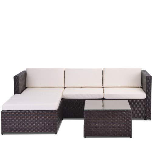 Garten-Ecksofa aus Rattan für den Außenbereich, Gartenmöbel, Terrassen-Set, Gartenmöbel aus Rattan, Lounge-Set, Couch-Set mit Sitz- und Rückenkissen, Lounge-Tisch mit Glasplatte (braun)