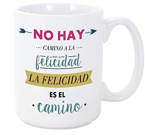 MUGFFINS Tazas Desayuno Originales con Frases motivadoras - No Hay Camino a la Felicidad, la Felicidad es el Camino - 350 ml - Tazas con Mensajes motivacionales