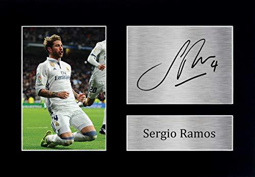 HWC Trading Sergio Ramos A4 Sin Marco Regalo De Visualizacion De Fotos De Impresion De Imagen Impresa Autografo Firmado por Real Madrid Los Aficionados Al Futbol