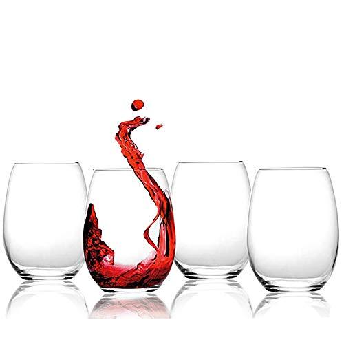 Copas de vino tinto sin tallo de cristal, tamaño grande, 584 ml, juego de 4 vasos de vino blanco y rojo, copas de agua