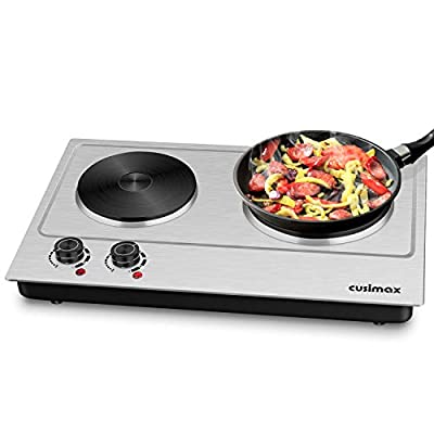 Cusimax Hot Plate, 1800W Electric Double Burner Cast Iron Heating Plates Cooktop, Portable Eleciric Burners Stove, Stainless Steel Countertop, Compatible w/All Cookware, Upgraded Version