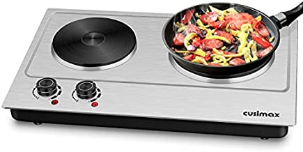 Cusimax 1800W Double Hot Plate Electric Countertop Cooktop Cast Iron Heating Plate Indoor&Outdoor Portable Stove with Adjustable Temperature Control, Non-Slip Rubber Feet, Stainless Steel, Easy to Clean, Upgraded Version