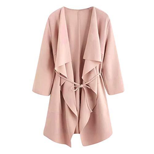 Xmiral Damen Mantel Casual Wasserfallkragen Pocket Front Wrap Medium Lange Strickjacke Jacke Outwear mit Gürtel (S,Rosa)