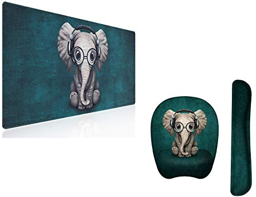 """Anyshock Desk Mat, Extended Gaming Mouse Pad 35.4"""" x 15.7"""" XXL Keyboard Laptop Mousepad with Keyboard Wrist Rest and Ergonomic Mouse Pad with Wrist Support (Cute Music Elephant)"""