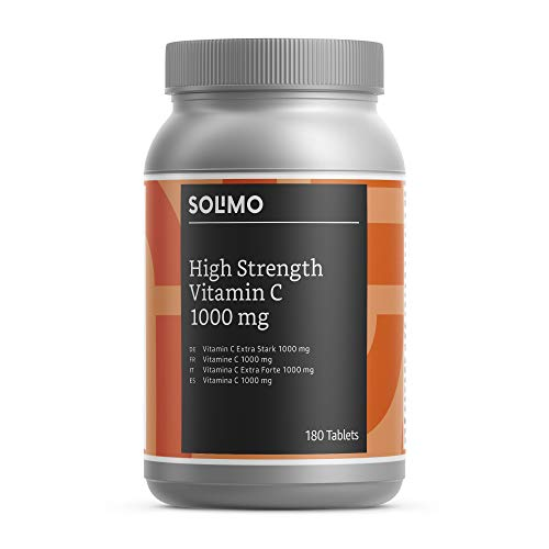 Amazon Brand - Solimo High Strength Vitamin C 1000 mg with Citrus Bioflavonoids Food Supplement, 180 Tablets