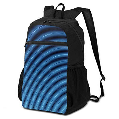 JOCHUAN Foldable Daypack for Travel Abstract 3D Blue Lines Blender Waterproof Daypack for Travel Packable Backpack Men Lightweight Waterproof for Men & Womentravel Camping Outdoor