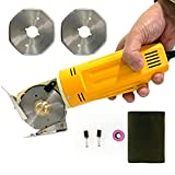 X-7SEVEN Electric Rotary Fabric Cutter Octagonal Blade Knife Hand-Held Fabric Cutting Machine Multi-Layer Fabric Leather Cutter Machine w/Extra 2pcs Replacement 70mm Rotary Blades