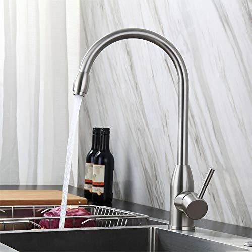 WJYHXW Grifo De Cocina Caño Giratorio A 360° Cepillado Grifo para Fregadero De Cocina Diseño Clásico Y Profesional Agua Fría Y Caliente Plata