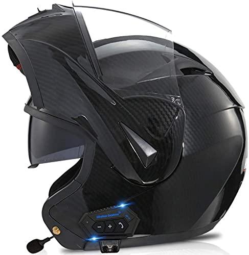 XLYYHZ Casco modular de motocicleta con Bluetooth integrado Mp3 sistema de comunicación de intercomunicador integrado y auriculares de doble altavoz, aprobado por DOT, con doble visera J, S