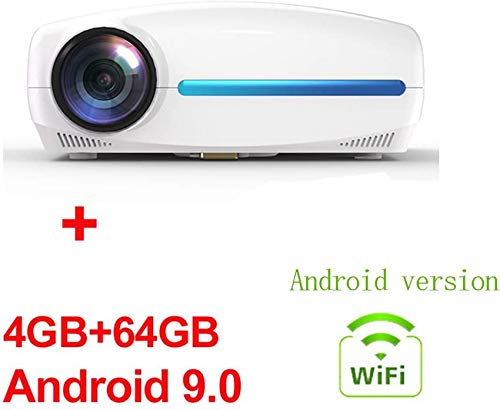SAFGH Proyectores, LED HD, 6500 lúmenes 1080P AC3 Home Android 9.0 WiFi Video Projector