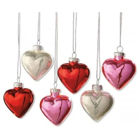 Country Decor, Valentines Gift Heart Ornaments Set of 3 Hearts
