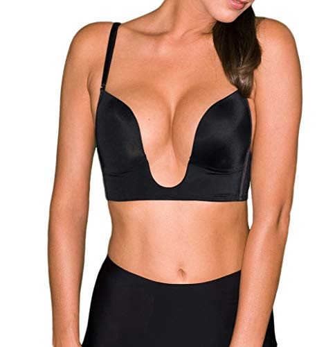Fullness Womens V Bra Max Cleavage Booster Shaper Black 38D