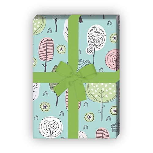 Kartenkaufrausch mooi natuurgeschenkpapier set met dodle bomen voor mooi cadeau, verpakking 32 x 48 cm, 4 vellen om in te pakken voor verjaardagen, bruiloft, decoratiepapier, mintgroen