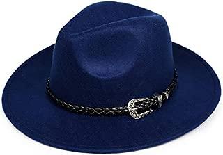 with Wide Brim Sombreros Jazz Hat for Gentleman Church Top Hat Fashion Wool Women's Men's Winter Autumn Fedora Hat (Color : Dark Blue)