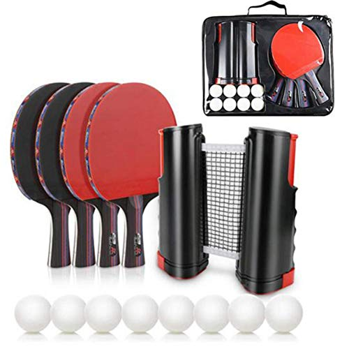 Affordable Table Tennis Set - with Retractable Net,4 Ping Pong Paddles/8 Ping Pong Balls (3-Star)/Pr...