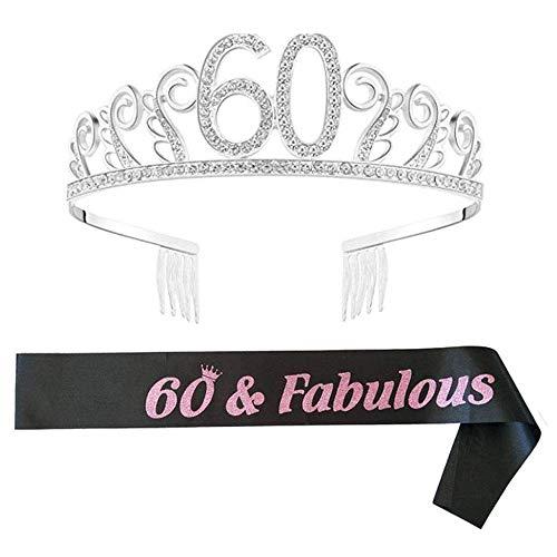 byou Compleanno Crown,Strass Corona Diadema 60 Anni di Compleanno Strass Corona Diadema con Satin Sash per Feste di Compleanno