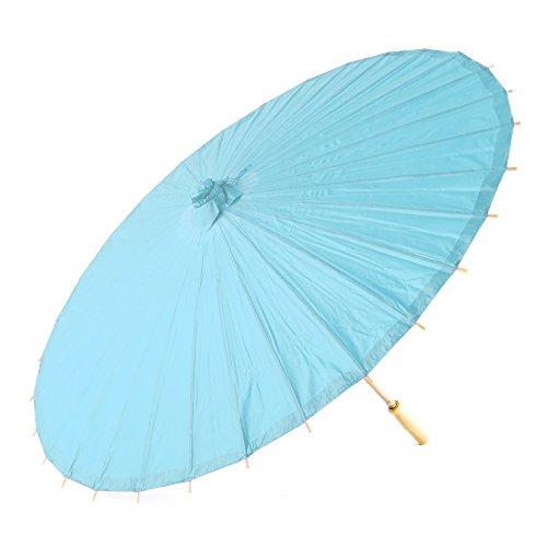 Weddingstar Style Classique Papier Parasol en Bleu avec poignée en Bambou et à désosser