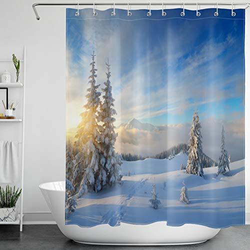 LB Schnee Wald Duschvorhang Winter Berge Bad Gardinen Weihnachten Extra Lang Anti Schimmel Wasserdicht Polyester Badezimmer Deko mit Haken,180X200cm