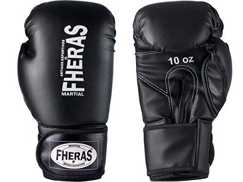 Luva de Boxe Muay Thai MMA 14oz Preta Fheras
