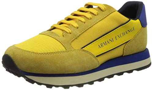 Armani Exchange Mens Osaka Running with Band Sneaker, Yellow+Bluette+Navy,40 EU