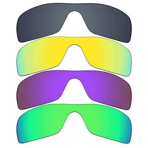 Mryok Lot de 4 paires de verres polarisés de rechange pour lunettes de soleil Oakley Batwolf - Noir IR/Or 24 K/Violet plasma/Vert émeraude