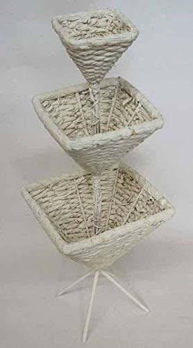 E+N Flecht-Pyramide weiß Pflanz-Etagere Schütte Pflanz-Ständer Pflanz-Objekt Deko-Etagere Kräuter-Etagere Naturmaterial
